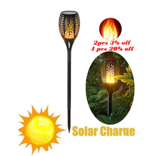 Load image into Gallery viewer, Solar 33LEDs Lawn Dancing flame Torch Lights radar led Tiki lamp indoor outdoor street camps wall Flame Lamp Flickering bulb dan