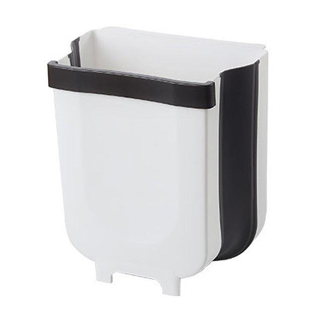 1PC Foldable Wall-mounted Waste Baskets Kitchen Cabinet Door Hanging Trash Can Push-Top Trash Garbage Bin Rubbish Container