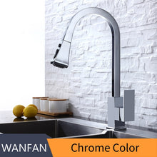 Load image into Gallery viewer, Kitchen Faucets Square Black Single Handle Pull Out Kitchen Tap Single Hole Swivel 360 Degree Rotation Water Mixer Tap 866399R