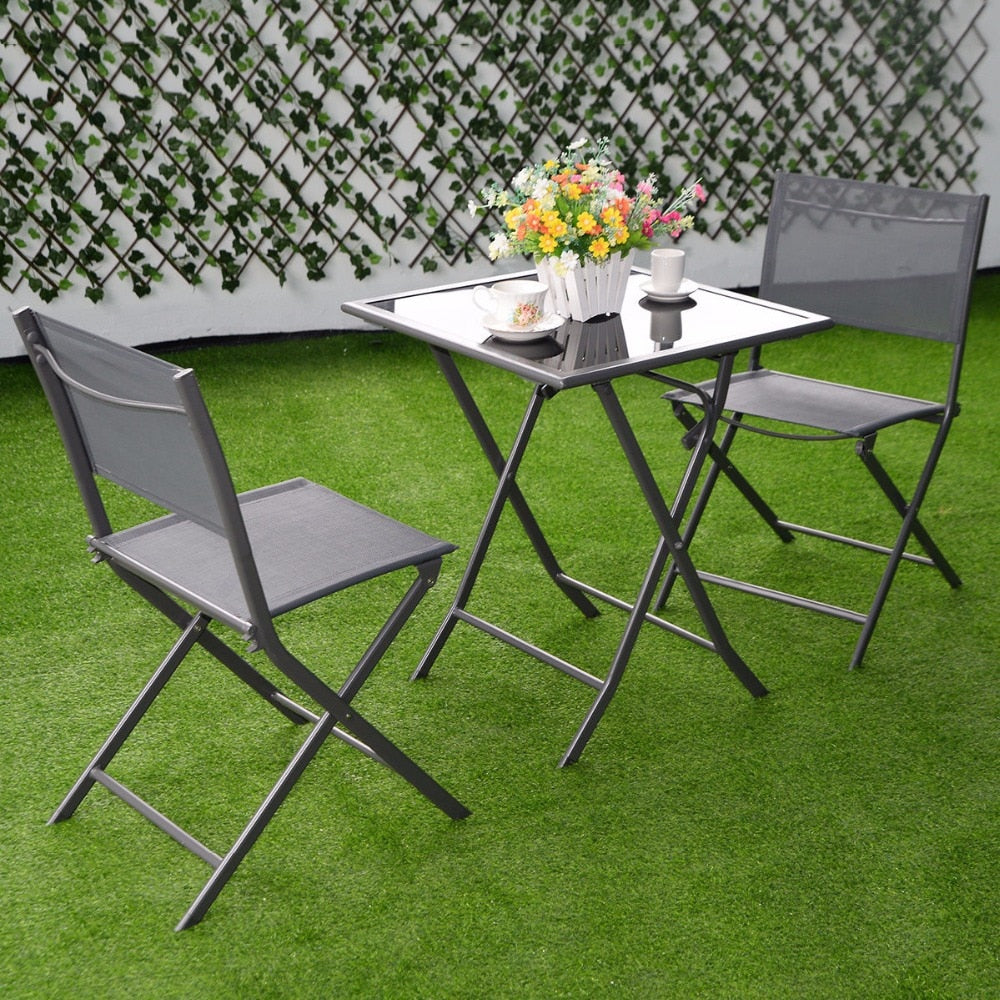 3 Pcs Bistro Set Garden Backyard Table Chairs Outdoor Patio Furniture Folding   HW51582