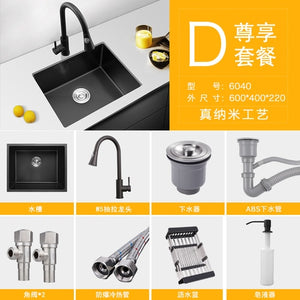 Nano-water tank single-groove black kitchen sink basin 304 stainless steel vegetable-washing basin under mount for large kitchen
