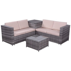 4 Pcs Steel Rattan Wicker Furniture Set Cushioned Sofa Waterproof Storage Box Contemporary Outdoor Tables Chairs Lounge Set