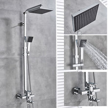 Load image into Gallery viewer, Senlesen Bathroom Shower Faucet Black 8 inch Shower Head Brass Wall Mounted W/ Hand Shower Set Cold and Hot Water Mixer Tap