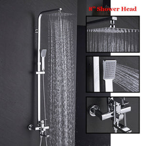 Senlesen Bathroom Shower Faucet Black 8 inch Shower Head Brass Wall Mounted W/ Hand Shower Set Cold and Hot Water Mixer Tap