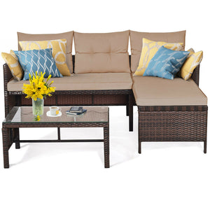 3 Piece Patio Wicker Rattan Sofa Set HW63870