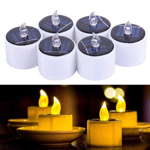 Solar Candles Light, 6pcs/lot Candles Tea light Flickering Flameless Candles Electronic Solar LED Nightlight Solar Candle Lamp