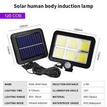 Load image into Gallery viewer, 120 LED Solar Wall Light Outdoors Solar Garden Light Waterproof PIR Motion Sensor Wall Lamp Spotlights Emergency Street Lamp