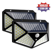 Load image into Gallery viewer, Solar Lights Outdoor 100 Led Bright Motion Sensor Light Wide Angle Wall Light Waterproof Solar Powered Sunlight for Garden Deco