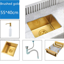 Load image into Gallery viewer, 10*15inch Kitchen Sinks 304 Stainless Steel Kitchen Bowl Set Brushed Gold Kitchen Sink Undermount Double Holder Mixer Water Taps