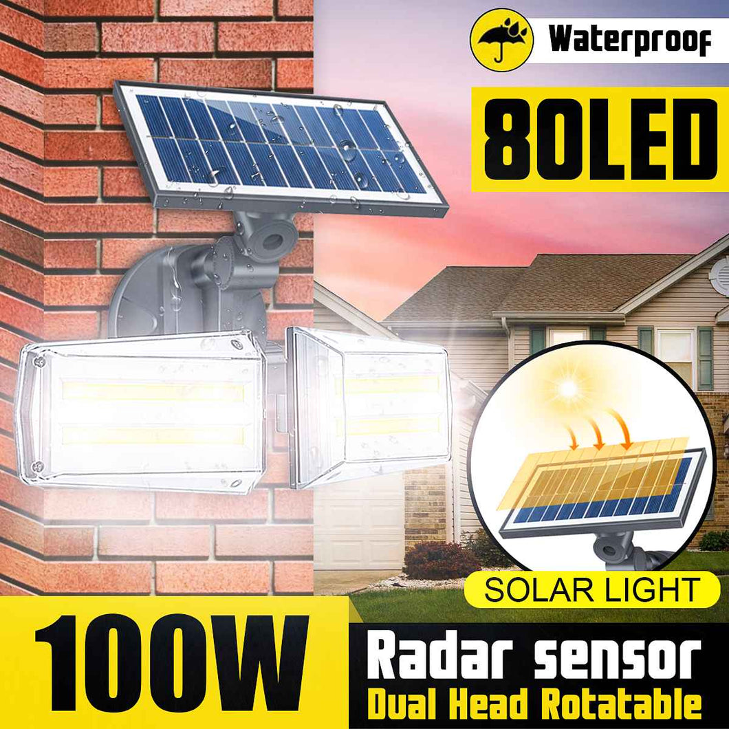 100W LED Dual Head Solar Light Radar Sensor COB Wall Lamp Spotlight Outdoors Solar Garden Light Yard LED Lamp Waterproof IP68