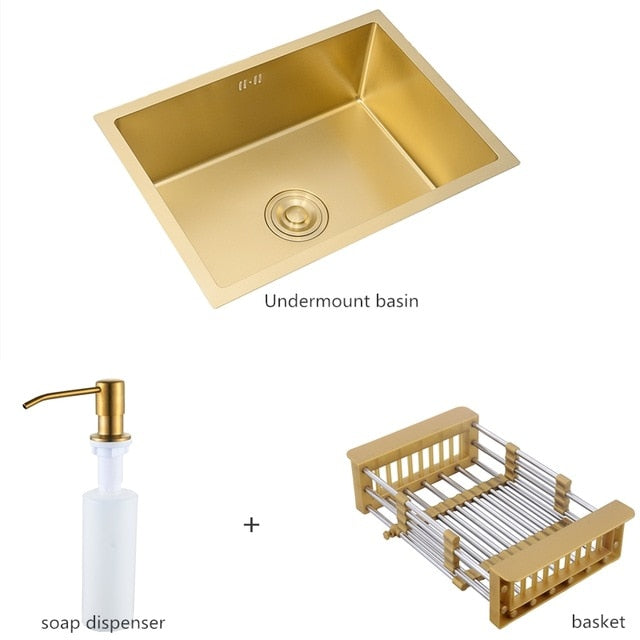 Gold Brushed Kitchen Sink Double Bowl Stainless Steel Above Counter Sink Drain Hair Catcher Kitchen Bowl Set Steel Sink Basket