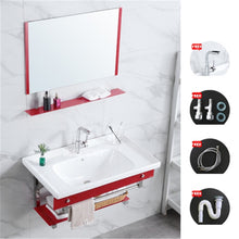 Load image into Gallery viewer, 7589 Bathroom Wall Mounted Ceramic Basin Toughened Glass Wall-Hung Sinks Cabinet Ceramic Washstand Combination With Mirror