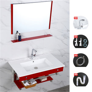 7589 Bathroom Wall Mounted Ceramic Basin Toughened Glass Wall-Hung Sinks Cabinet Ceramic Washstand Combination With Mirror