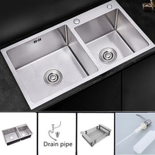 Load image into Gallery viewer, Kitchen Sinks Stainless Steel Double Bowl Brushed Silver Sink with Sink Basket Above Counter Wash Sink Thickness 3mm