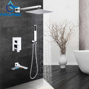 Contemporary Square Chrome Rain Shower Head FShower Sprayer Mixer Bathroom Shower Faucet Set Mixer Valve Tap 8 10 12 16 inch