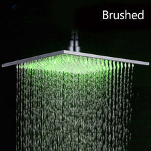 "Load image into Gallery viewer, Black Rainfall Shower Head LED Light 16"" Large Rainfall Shower Faucet Head Square Brass Showerhead Color Changing Head"