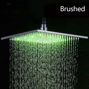 "Black Rainfall Shower Head LED Light 16"" Large Rainfall Shower Faucet Head Square Brass Showerhead Color Changing Head"