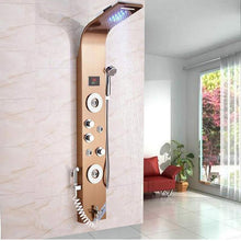 Load image into Gallery viewer, Rose Gold Shower Column Faucet Brushed Black Led Bathroom Shower System Shower Plate Massage System Temperature Display