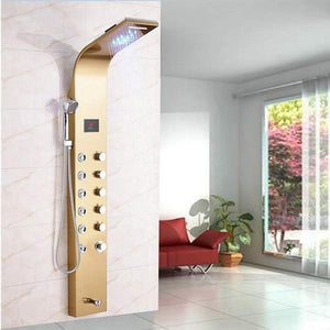 Rose Gold Shower Column Faucet Brushed Black Led Bathroom Shower System Shower Plate Massage System Temperature Display