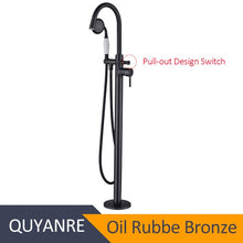 Load image into Gallery viewer, Quyanre Black Nickel Chrome Bathtub Shower Faucet Two Way Floor Standing Faucet Single Handle Bathtub Mixer Taps Bath Shower