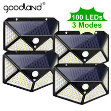 Load image into Gallery viewer, Goodland 100 LED Solar Light Outdoor Solar Lamp Powered Sunlight Waterproof PIR Motion Sensor Street Light for Garden Decoration