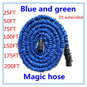 Free shipping 25-200FT Garden hose with expandable water hose blue green Garden Water hose connector EU/US [There is no spray]