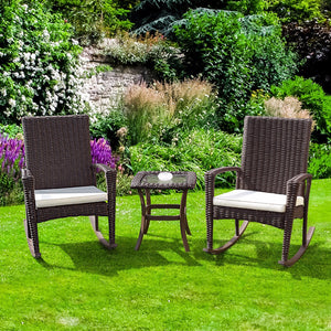 Giantex 3 PCS Rattan Wicker Patio Furniture Set Coffee Table Rocking Chair Cushioned New Garden Set HW54922