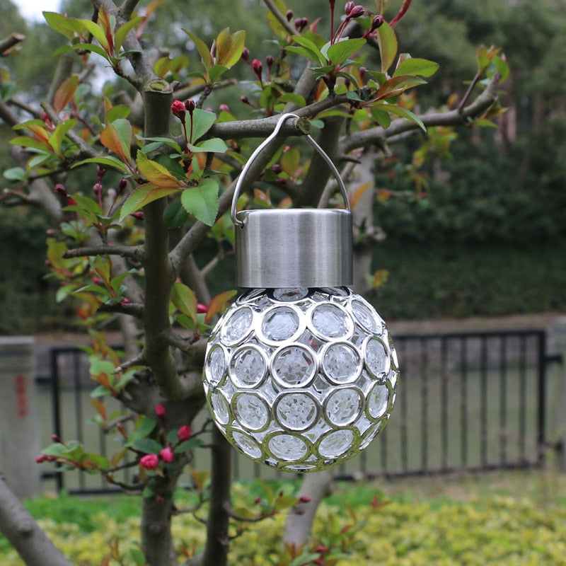Mini Solar Powered Light Peacock Eye LED Hanging Lamp Outdoor Garden Decor For Courtyard Lawn Street Fence Waterproof Small Size