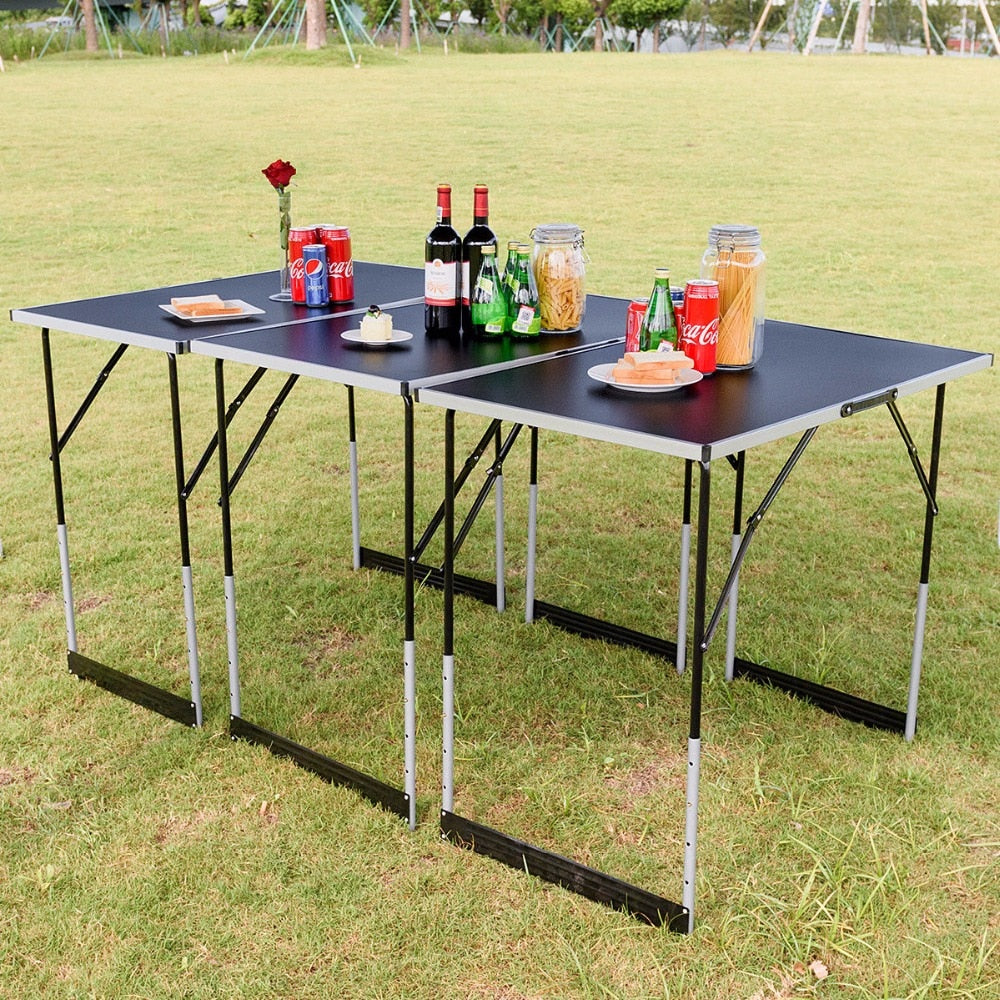 Giantex 3PCS Folding Outdoor Camping Picnic Table Set Height Adjustable Indoor  Home Furniture OP3557
