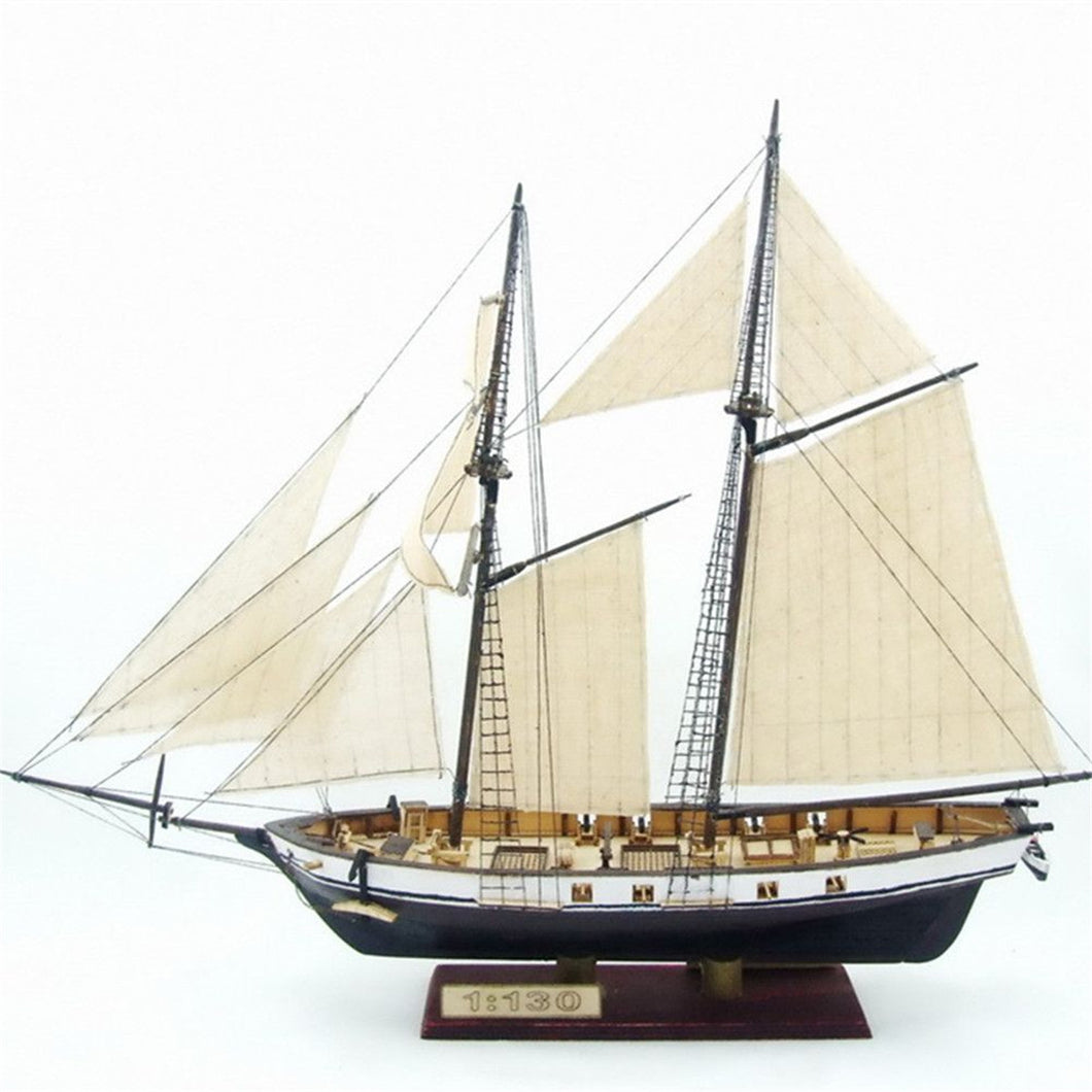 1:130 Scale Sailboat Model DIY Ship Assembly Model Kits Figurines Miniature Handmade Wooden Sailing Boats Wood Crafts Home Decor