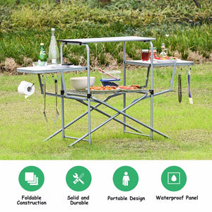 Goplus Foldable Camping Table Outdoor Kitchen Portable Grilling Stand Folding BBQ Table Outdoor Furniture OP3688