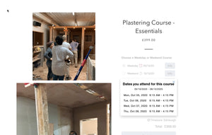 Last Minute Cancellation for October 5th Plastering Course