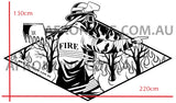 Dimensions of the sticker are 130cm high by 220cm wide. Metallic style Vinyl Car sticker. Shows a firefighter fighting a wildfire, colors are black and metallic Silver. Dimensions of the sticker are 130cm high by 220cm wide.