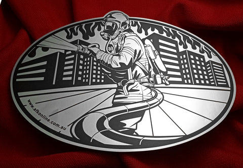 Metallic style Vinyl Car sticker. Shows an urban firefighter, in the city. Colors are black and metallic Silver