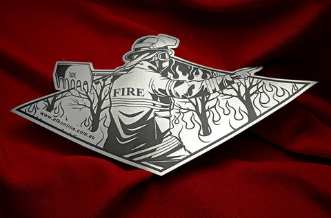 Metallic style Vinyl Car sticker. Shows a firefighter fighting a wildfire, colors are black and metallic Silver