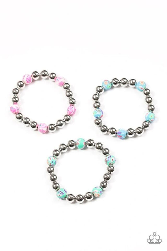 Paparazzi Starlet Shimmer Colorful Flower and Silver Bracelet