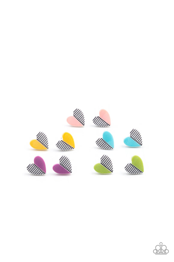 Paparazzi Starlet Shimmer Colorful Half Striped Heart Earrings