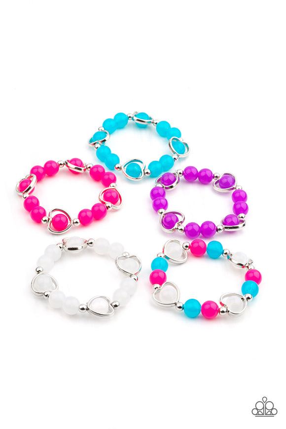 Paparazzi Starlet Shimmer Glassy Beads With Heart-Shaped Frame Bracelets