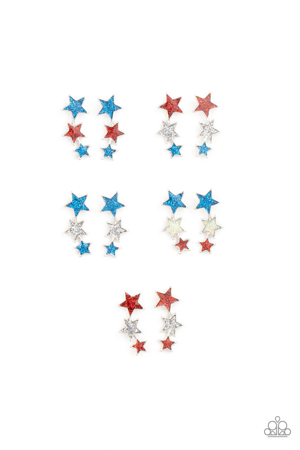 Paparazzi Let Freedom Ring Iridescent Stars Earrings (2298)
