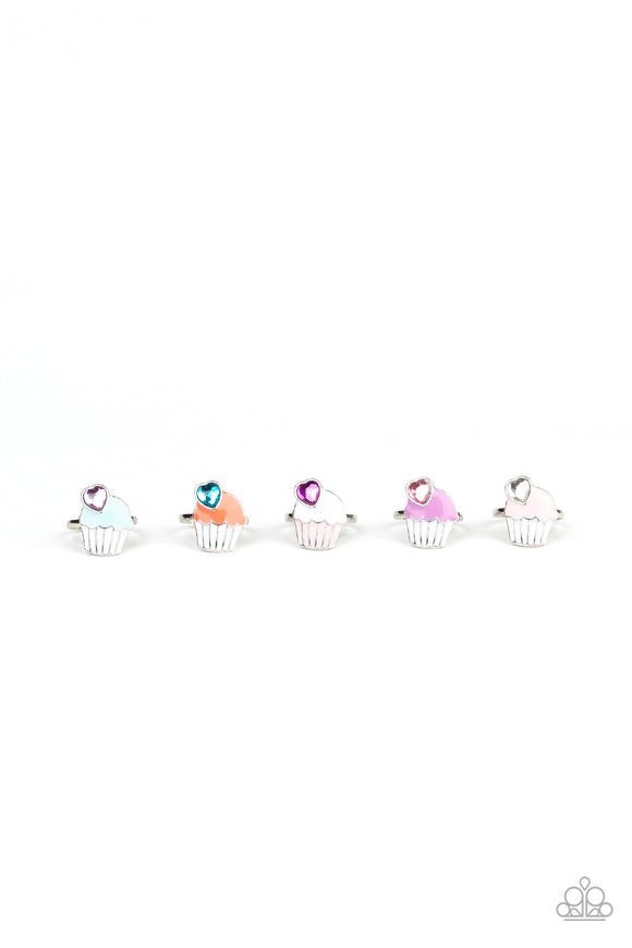Paparazzi Starlet Shimmer Cupcake With Heart-Shaped Rhinestones Rings