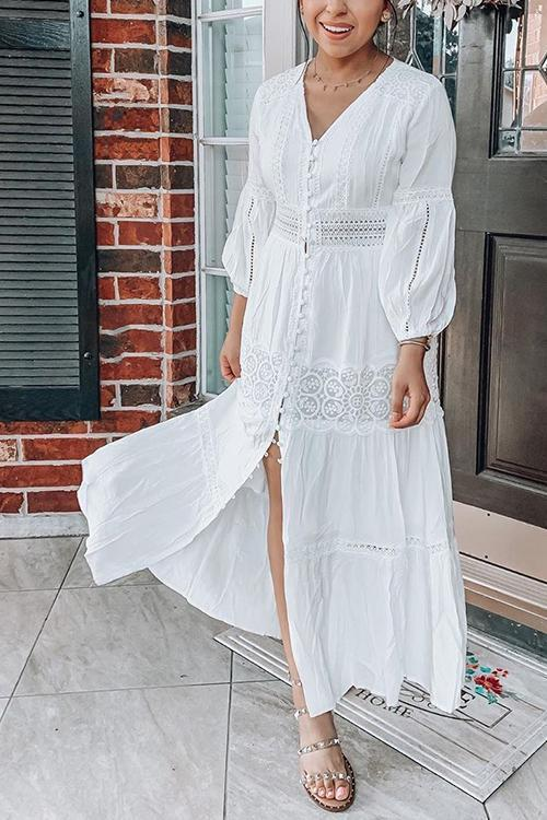 Single Breasted Lace Long Sleeve Maxi Dress