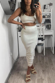 Solid Crop Top Pencil Skirt Set