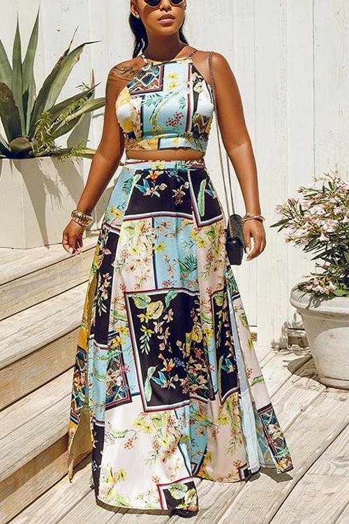 Print Slit Backless Skirts Set