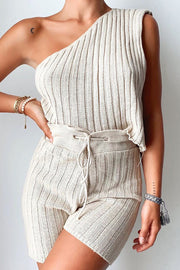 Solid One Shoulder Slip Shorts Set