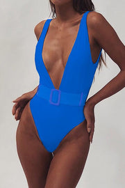 Solid Deep V Neck One Piece Swimwear