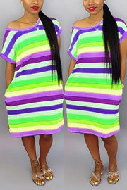 Rainbow Stripe Pockets Dress