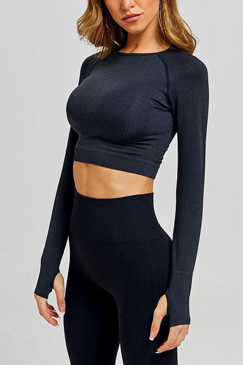 Seamless Long Sleeve T Shirt Leggings Set