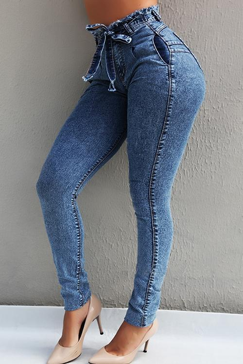 Raw Edge Bleted Skinny Jeans