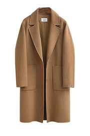Pockets Turndown Collar Woolen Coat