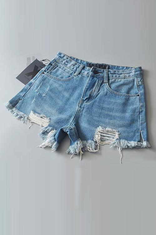 Broken Edges Denim Shorts